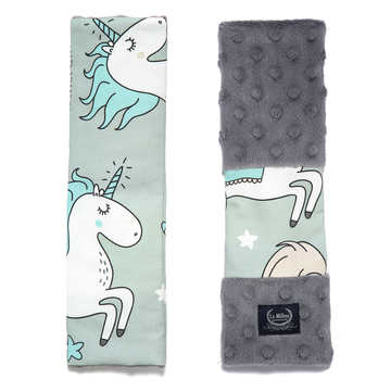 BY MAJA BOHOSIEWICZ - SEATBELT COVER - UNICORN RAINBOW KNIGHT - GREY