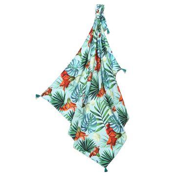 BAMBUSOWY OTULACZ MGIEŁKA FRINGE - KING SIZE - BLUE HAWAIIAN FLOWERS