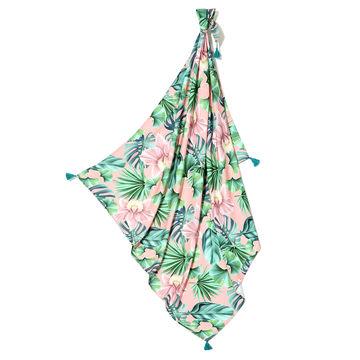 BAMBUSOWY OTULACZ MGIEŁKA FRINGE - KING SIZE - PEACH HAWAIIAN FLOWERS