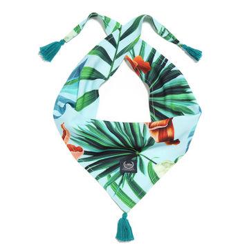 CHUSTECZKA BAMBUSOWA - BLUE HAWAIIAN FLOWERS
