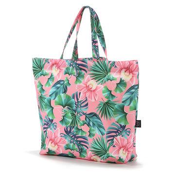 SHOPPER BAG - PEACH HAWAIIAN FLOWERS