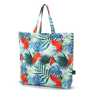 SHOPPER BAG - BLUE HAWAIIAN FLOWERS