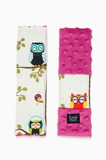 BY ANNA MUCHA  - SEATBELT COVER - OWL RADIO - RASPBERRY