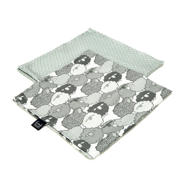 2 PACK PIELUSZKA 100% BAMBOO MUŚLIN - GRAPHITE SHEEP FAMILY & MINTY DOTS
