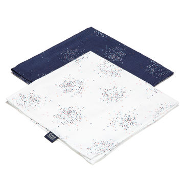 2 PACK PIELUSZKA 100% BAMBOO MUŚLIN - CONFETTI WHITE & CONFETTI NAVY - LIMITTED EDITION