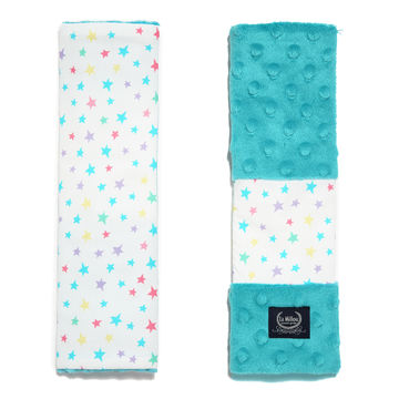 SEATBELT COVER - RAINBOW STARS - TEAL