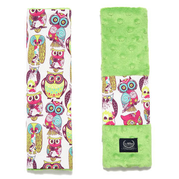SEATBELT COVER - WILD OWLS - GREEN
