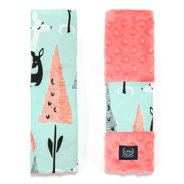 SEATBELT COVER - MINT BAMBI - CORAL