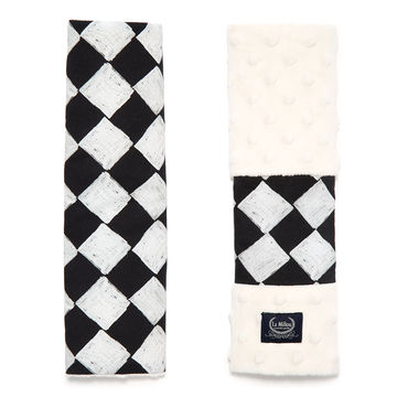 SEATBELT COVER - FOLLOW ME CHESSBOARD - ECRU