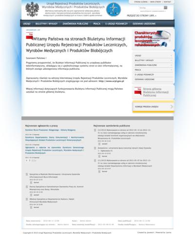 Biuletyn Informacji Publicznej Urzędu Rejestracji Produktów Leczniczych, Wyrobów Medycznych i Produktów Biobójczych