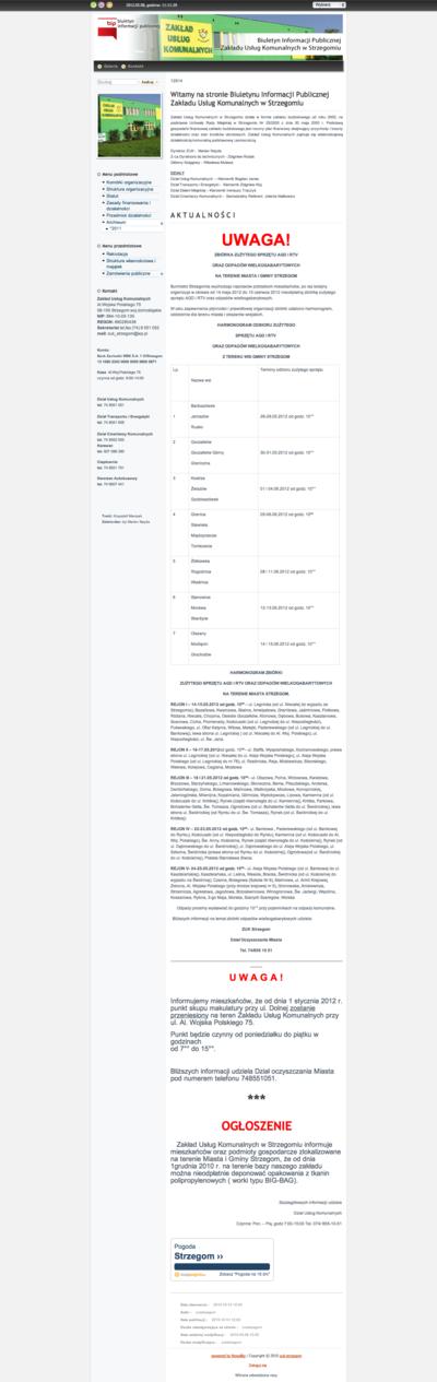 Biuletyn Informacji Publicznej Zakładu Usług Komunalnych w Strzegomiu