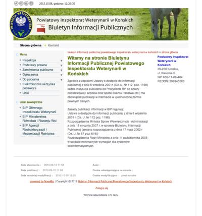 Biuletyn Informacji Publicznej Powiatowego Inspektoratu Weterynarii w Końskich