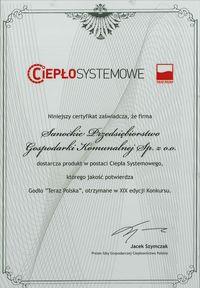 Ciepło systemowe, certyfikat