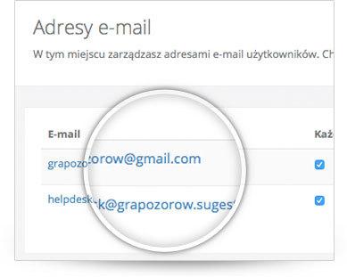 Korzystanie z własnych adresów e-mail