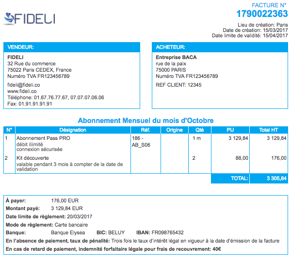 Facturation Facture Devis Format Bleu Affichage