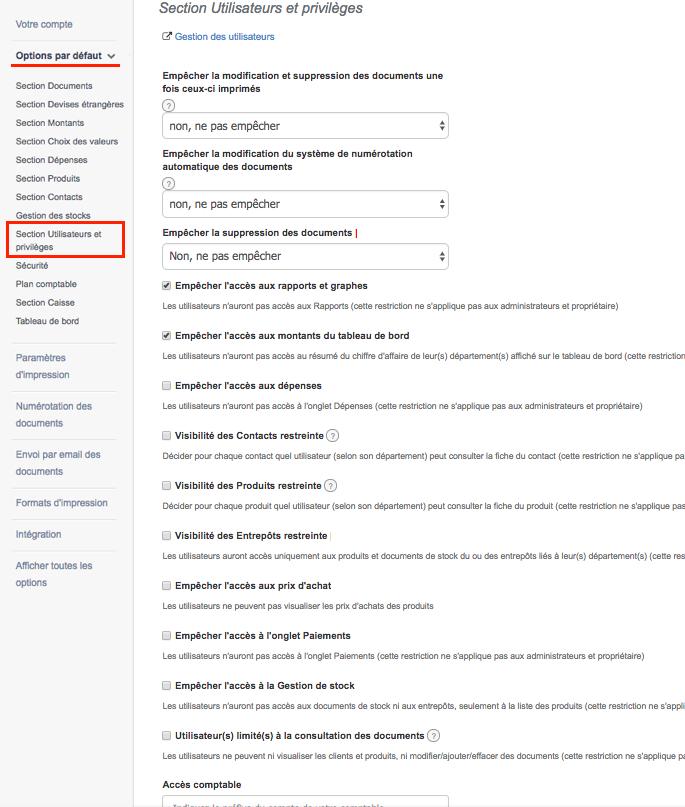 Section Utilisateurs et privilèges depuis les paramètres du compte