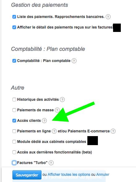 option accès clients