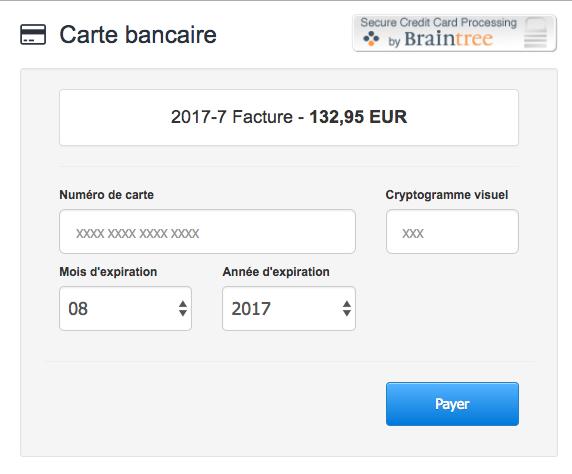 Facturation Intégration Braintree Paiement en Ligne VosFactures Ecommerce Facture