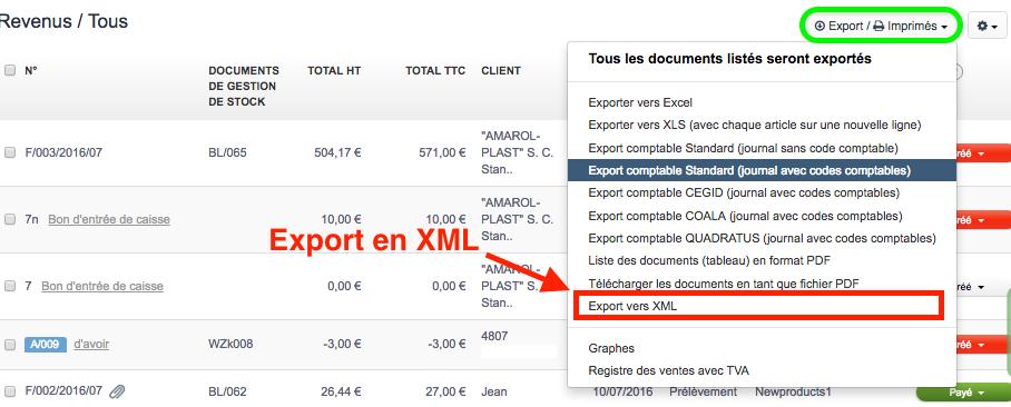 exporter factures xml