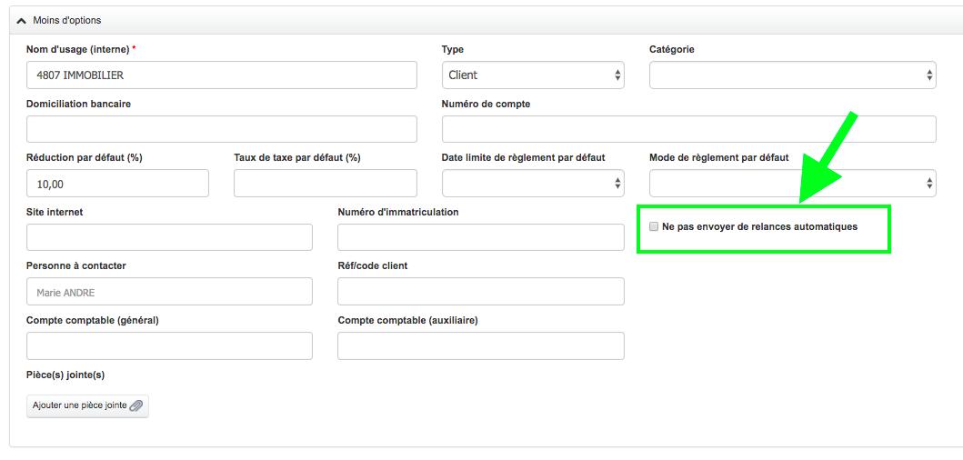 Exclure Client De l'Envoi Automatique Facture Relance