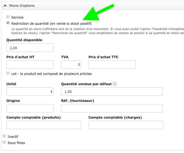 Option Produit Restriction Quantité